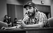 Drew Laundry, local muscian testifying at the Bayou Bridge pipeline hearing.