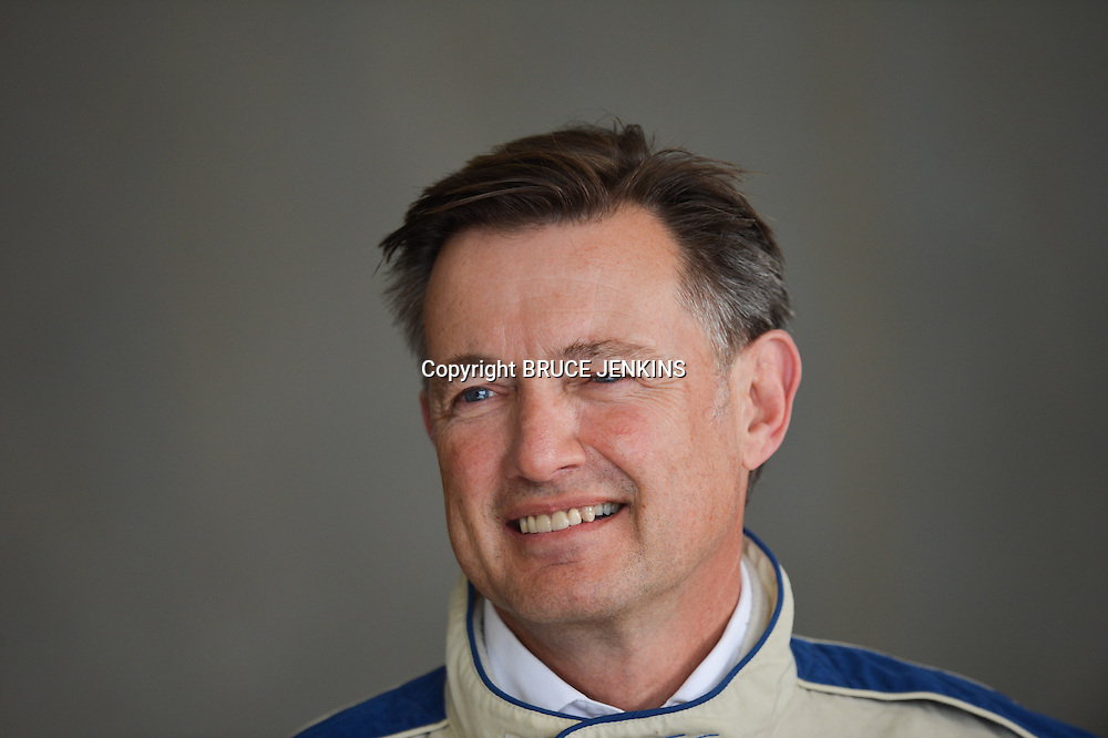 """Chris Quin, CEO of Telecom Retail gets ready for a """"Hot Lap"""" in a TR 86 at Highlands Park. TR 86 Round One at Highlands Motorsport Park, Cromwell"""