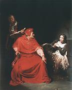 Joan of Arc in Prison'  c1824:  Hippolyte (Paul) Delaroche (1797-1856) French painter. Oil on canvas.