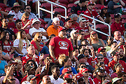 San Francisco 49ers fans cheer from the stands during a preseason game against the Houston Texans at Levi's Stadium in Santa Clara, Calif., on August 14, 2016. (Stan Olszewski/Special to S.F. Examiner)