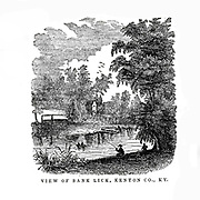 View of Bank Lick, Kenton County from the book ' Historical Sketches Of Kentucky (1847) ' ITS HISTORY, ANTIQUITIES, AND NATURAL CURIOSITIES, GEOGRAPHICAL, STATISTICAL, AND GEOLOGICAL DESCRIPTIONS. WITH ANECDOTES OF PIONEER LIFE By Lewis Collins. Published by Lewis Collins, Maysville, KY. and J. A. & U. P. James Cincinnati. in 1847