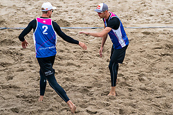Alexander Brouwer, Robert Meeuwsen in action. The Final Day of the DELA NK Beach volleyball for men and women will be played in The Hague Beach Stadium on the beach of Scheveningen on 23 July 2020 in Zaandam.