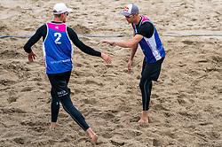 Alexander Brouwer, Robert Meeuwsen in action. The Final Day of the DELA NK Beach volleyball for men and women will be played in The Hague Beach Stadium on the beach of Scheveningen on 23 July 2020 in Zaandam.