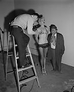 "Ackroyd 05062-3. ""Burt Glinn. Life Magazine Photographer. pics of 'Frosty Winter' burlesque queen & comedian Hermie Rose. March 19, 1954"""