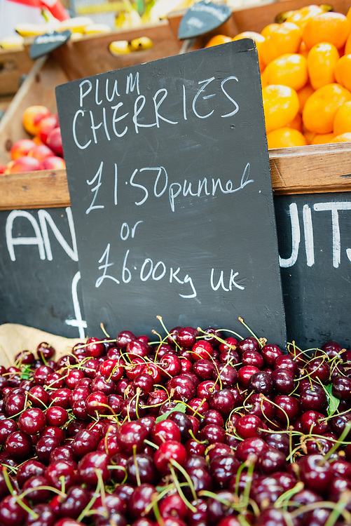 Cherries for sale at Borough Market, London