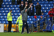 Neil Warnock, the Cardiff city manager applauds the Cardiff fans at the end of the game. EFL Skybet championship match, Cardiff city v Fulham at the Cardiff city stadium in Cardiff, South Wales on Saturday 25th February 2017.<br /> pic by Andrew Orchard, Andrew Orchard sports photography.