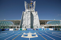 Royal Caribbean International's  Independence of the Seas, the world's largest cruise ship.....Sports court with rock climbing wall in the background. *** Local Caption *** Sports court with rock climbing wall in the background...