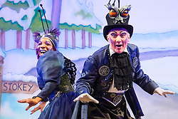 "Hackney Empire Theatre, London, November 25th 2015.  Hackney Empire presents Jack and the Beanstalk as their 2015 Christmas pantomime. London's most famous panto will star Hackney Empire's own Olivier nominated dame Clive Rowe as Dame Daisy Trott, Olivier Award-nominated Bodyguard actress Debbie Kurup as Jack and Hackney Panto favourite Kat B as Snowman. Written and directed by Creative Director Susie McKenna, with music by Steven Edis. PICTURED: Jocelyn Jee Esien - ""Stomach Bug"" and Tony Timberlake - ""Nasty Bug""."