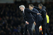 Mark Hughes, the Stoke City manager shouts at his players as he urges them forward. Barclays Premier league match, West Ham Utd v Stoke city at the Boleyn Ground, Upton Park  in London on Saturday 12th December 2015.<br /> pic by John Patrick Fletcher, Andrew Orchard sports photography.