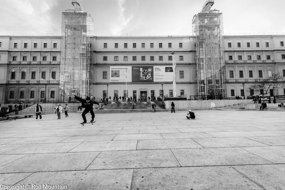 Madrid, Spain - February 16, 2018 - …Skateboarding on the steps at Museo Nacional Centro de Arte Reina Sofia.<br /> <br /> Image: © Rod Mountain<br /> <br /> http://www.rodmountain.com <br /> <br /> http://bit.ly/Madrid_bw<br /> <br /> #skateboarding #skatelife #europe_vacations #europetour #Spain #visitamadrid #blackandwhitephotographymag #blancnoir2 enblancoynegro #ig_europe #vivir_to2_bw #bnw_globe #bnw_of_our_world #top_bnw #flair_bw #moodygrams#twgrammers #illkillers#superhubs #urbanromantix #instatraveling#igtravel#travelmore #wonderfulplaces #getaway #exploretheglobe #touring #travelblog #travelersnotebook #latergram <br /> <br /> Instagram<br /> @spain @visita_madrid @museoreinasofia<br /> <br /> FaceBook<br /> @spain.info @visitamadridoficial @museoreinasofia<br /> <br /> Twitter<br /> @spain @Visita_Madrid @VisitMadrid_EN @museoreinasofia<br /> <br /> https://www.museoreinasofia.es/en<br /> https://www.esmadrid.com/en<br /> https://en.wikipedia.org/wiki/Madrid<br /> https://www.spain.info/en/