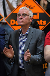 © Licensed to London News Pictures. 16/07/2015. London, UK. Norman Lamb at Islington Assembly Hall for Tim Farron's first rally as Leader of the Liberal Democrats after beating Norman Lamb in the contest to succeed Nick Clegg. Photo credit : James Gourley/LNP