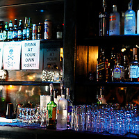 USA, California, Los Angeles. The bar at The Viper Room nightclub on Sunset Strip in West Hollywood.