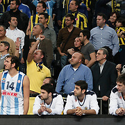 Fenerbahce Ulker's Kaya Peker (2ndL) during their Euroleague Basketball Game 7 match Fenerbahce Ulker between Olympiacos at Sinan Erdem Arena in Istanbul, Turkey, Thursday, December 01, 2011. Photo by TURKPIX