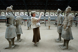 Queen Paola of Belgium visits the army of terra cotta soldiers in Xian, China.