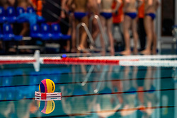 The Mikasa ball waiting before the match Netherlands against Croatia during the Olympic qualifying tournament. The Dutch water polo players are on the hunt for a starting ticket for the Olympic Games on February 15, 2021 in Rotterdam