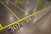Yellow painted lanes on the floor of Sainsbury's 700,000 sq ft (57,500sq m) supermarket distribution depot at Waltham Point