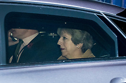© Licensed to London News Pictures. 08/11/2017. London, UK. Prime Minister Theresa May is seen leaving Downing Street by car. International Development Secretary Priti Patel has been called back from Kenya. MS Patel is facing criticism after details were revealed of secret meetings with Israeli officials during her holiday without the knowledge of The Foreign Office. Photo credit: Peter Macdiarmid/LNP