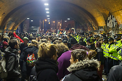 Shoreditch, London, January 30th 2016. Hundreds gather at the tunnel adjacent to Shoreditch Overground Station for a rave to protest against police interference where sound systems are confiscated and arrests take place during unauthorised raves. ///FOR LICENCING CONTACT: paul@pauldaveycreative.co.uk TEL:+44 (0) 7966 016 296 or +44 (0) 20 8969 6875. ©2015 Paul R Davey. All rights reserved.