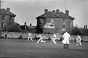 25/05/1962<br /> 05/25/1962<br /> 25 May 1962<br /> Senior Interprovincial Cricket, Leinster v Munster at Sydney Parade, Dublin. W.I. (Ian) Lewis (l.P.Y.M.S.) sends a ball over the boundary for Munster.