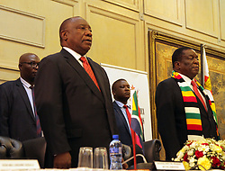 HARARE, March 12, 2019  South African President Cyril Ramaphosa (L, Front) and Zimbabwean President Emmerson Mnangagwa (R, Front) attend the third session of the Bi-National Commission (BNC) between Zimbabwe and South Africa, in Harare, Zimbabwe, on March 12, 2019. South Africa is holding discussions with Zimbabwe on the possibility of extending financial assistance to the sanctions-hit country and help it to revive its struggling economy, Cyril Ramaphosa said Tuesday. (Credit Image: © Shaun Jusa/Xinhua via ZUMA Wire)