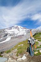 Skiier at Paradise Park area of Mt. Rainier National Park, WA.