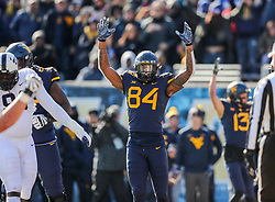 Nov 10, 2018; Morgantown, WV, USA; West Virginia Mountaineers tight end Jovani Haskins (84) celebrates after West Virginia Mountaineers scored a touchdown during the second quarter against the TCU Horned Frogs at Mountaineer Field at Milan Puskar Stadium. Mandatory Credit: Ben Queen-USA TODAY Sports