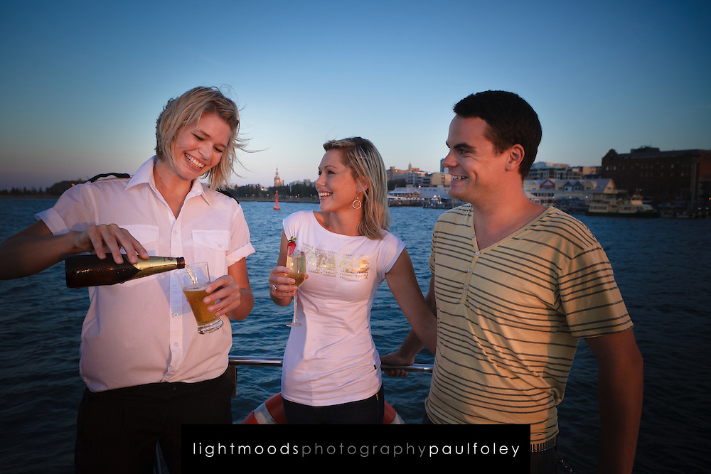 Young Couple on a sunset Cruise, Newcastle Harbour in Australia with Nova Cruises