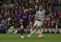 May 1, 2019 - Barcelona, Barcelona, Spain - Messi of Barcelona and Van Dijk of Liverpool in action during UEFA Champions League football match, between Barcelona and Liverpool, May 01th, in Camp Nou stadium in Barcelona, Spain. (Credit Image: © AFP7 via ZUMA Wire)
