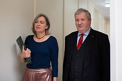 © Licensed to London News Pictures. 30/09/2019. London, UK. Plaid Cymru Westminster leader LIZ SAVILLE-ROBERTS and SNP Westminster Leader IAN BLACKFORD arrive at Portcullis House ahead of a meeting of opposition parties.  Photo credit: George Cracknell Wright/LNP
