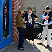 Event organizers gather outside 3S Artspace on the morning of TEDx Piscataqua River in Porstmouth, NH on May 3, 2013