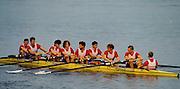 Bled, Slovenia, YUGOSLAVIA. GBR M8+,   at the the start of a heat of the men's eight. 1989 World Rowing Championships, Lake Bled. [Mandatory Credit. Peter Spurrier/Intersport Images] crew, Bow,  Tim FOSTER, Matthew BRITTIN, Jim WALKER, Rupert OBHOLZER, Jonny SINGFIELD, Richard PHELPS, Jonathan SEARLE, Jonathan HULLS and cox Adrian ELLISON.
