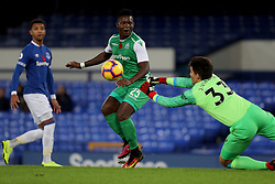 Everton's Joao Virginia saves the shot from Gor Mahia's Geoger Odhiambo during the SportPesa Trophy match at Goodison Park, Liverpool.