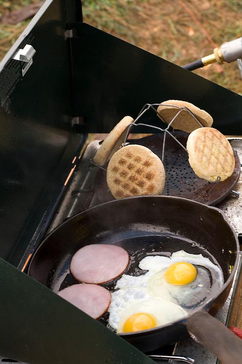Breakfast sandwiches at hunting camp near Gwinn Michigan.