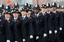 © Licensed to London News Pictures. 03/11/2017. London, UK. Police recruits attend the Metropolitan Police Service Passing Out Parade, to mark the graduation of 182 new recruits from the Met's Police Academy in Hendon. Photo credit: Ray Tang/LNP