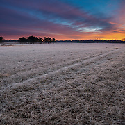 Dawn breaks over a frosted field in Barbour County, AL