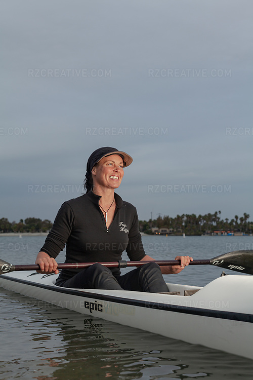 Portrait of Freya Hoffmeister paddling in Mission Bay in San Diego, Calif. Photo © Robert Zaleski / rzcreative.com<br /> —<br /> To license this image contact: robert@rzcreative.com