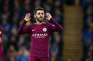 Bernardo Silva of Manchester city reacts and shows frustration towards the assistant referee after he has a goal disallowed.The Emirates FA Cup, 4th round match, Cardiff city v Manchester City at the Cardiff City Stadium in Cardiff, South Wales on Sunday  28th January 2018.<br /> pic by Andrew Orchard, Andrew Orchard sports photography.