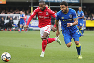 AFC Wimbledon striker Andy Barcham (17) battles for possession with Charlton Athletic midfielder Mark Marshall (7) during the The FA Cup match between AFC Wimbledon and Charlton Athletic at the Cherry Red Records Stadium, Kingston, England on 3 December 2017. Photo by Matthew Redman.