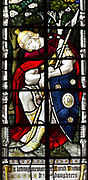 Roman soldier asleep stained glass window the Ascension church of Saint Mary, Purton, Wiltshire, England, UK by Clayton and Bell 1883