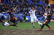 Tranmere Rovers' Jake Cassidy shoots wide. Skybet football league 1 match, Tranmere Rovers v Carlisle United at Prenton Park in Birkenhead, England on Saturday 29th March 2014.<br /> pic by Chris Stading, Andrew Orchard sports photography.