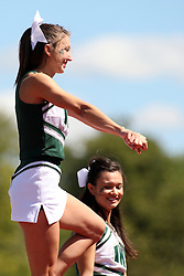 08 September 2012:  A Titan Cheerleader during an NCAA division 3 football game between the Alma Scots and the Illinois Wesleyan Titans which the Titans won 53 - 7 in Tucci Stadium on Wilder Field, Bloomington IL