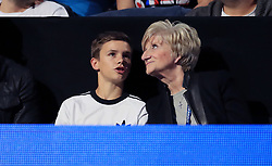 Romeo Beckham with Grandmother Sandra West during day five of the NITTO ATP World Tour Finals at the O2 Arena, London.