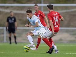 Oliver Kjærgaard (FC Helsingør) under kampen i 1. Division mellem FC Helsingør og Silkeborg IF den 11. september 2020 på Helsingør Stadion (Foto: Claus Birch).