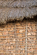 Detail of traditional hut with thatched roof showing building technique, Eswatini