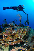 A diver hangs on to a piece of stern wreckage on the cross wreck, a coaster sunk in WW2.  Depth charges are clearly visible in the foreground., Manokwari, West Papua