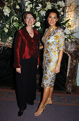 Left to right, BARBARA KOVAC MD of Tiffany UK and ALEX MEYERS at jewellers Tiffany's Christmas party held at The Savile Club, 69 Brook Street, London on 14th December 2004.<br />