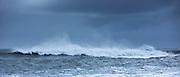Dangerous waves of Atlantic Ocean at the black volcanic sand beach Reynisfjara near Vík in Myrdal, South Iceland