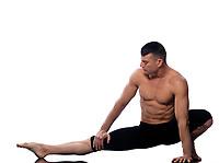 caucasian man gymnastic warming up isolated studio on white background