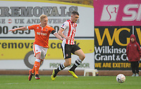 Blackpool's Mark Cullen vies for possession with Exeter City's Dara O'Shea<br /> <br /> Photographer Kevin Barnes/CameraSport<br /> <br /> Emirates FA Cup First Round - Exeter City v Blackpool - Saturday 10th November 2018 - St James Park - Exeter<br />  <br /> World Copyright © 2018 CameraSport. All rights reserved. 43 Linden Ave. Countesthorpe. Leicester. England. LE8 5PG - Tel: +44 (0) 116 277 4147 - admin@camerasport.com - www.camerasport.com