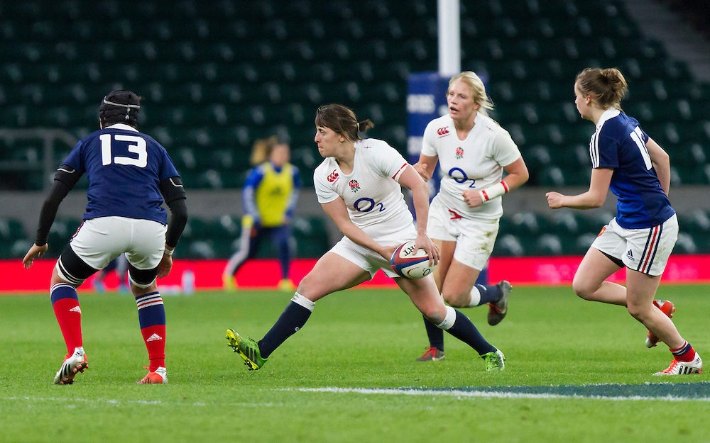 Katy McLean in action, England Women v France Women in the 6 Nations at Twickenham Stadium, Twickenham, England, on 21st March 2015